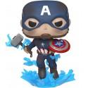 POP! Avengers 4: Endgame - Capitan America con Escudo Roto y Mjolnir
